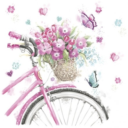 Χαρτοπετσέτα για Decoupage, Pink Bicycle with Basket / SDOG-023301