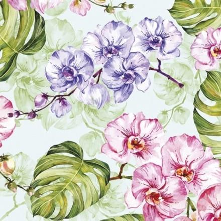 Χαρτοπετσέτα για Decoupage, Wild Orchid with Monstera Leaves / SDOG-029001