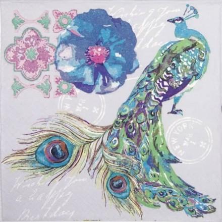 Χαρτοπετσέτα για Decoupage, Watercolour Collage with Peacock Bird / SDOG-029201