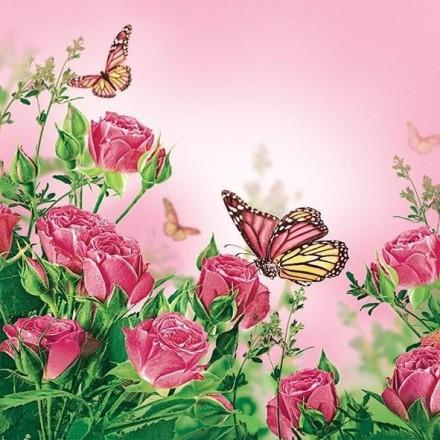 Χαρτοπετσέτα για Decoupage, Roses & Butterflies / SDWI-003501