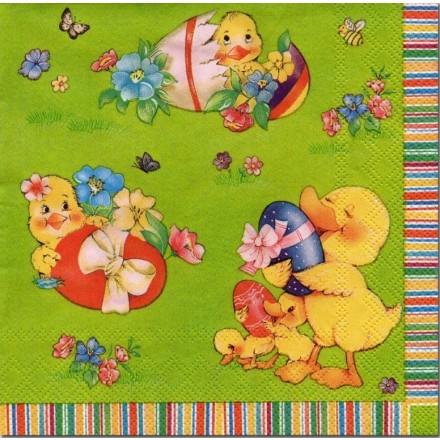 Πασχαλινή Χαρτοπετσέτα για Decoupage, Easter young chickens / SDWL-000301
