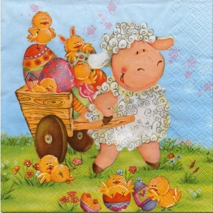 Πασχαλινή  Χαρτοπετσέτα για Decoupage, Easter sheep with chicks / SDWL-002601