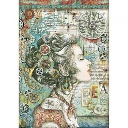 Ριζόχαρτο για Decoupage Stamperia Α4, Κοπέλα Γρανάζια (lady with compass) / DFSA4430