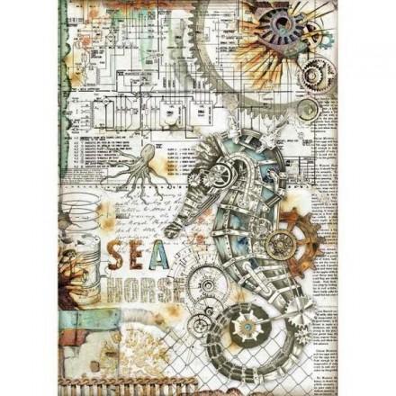 Ριζόχαρτο για Decoupage Stamperia A4, Ιππόκαμπος Γρανάζια (Sea World seahorse) / DFSA4431