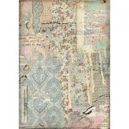 Ριζόχαρτο για Decoupage Stamperia Α4, Ταπετσαρία Λουλούδια Γράμματα (Wallpaper) / DFSA4441