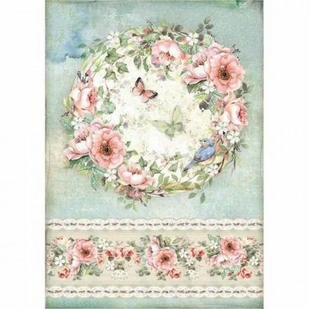 Ριζόχαρτο για Decoupage Stamperia A4, Στεφάνι Λουλούδια (Roses and butterfly) / DFSA4445