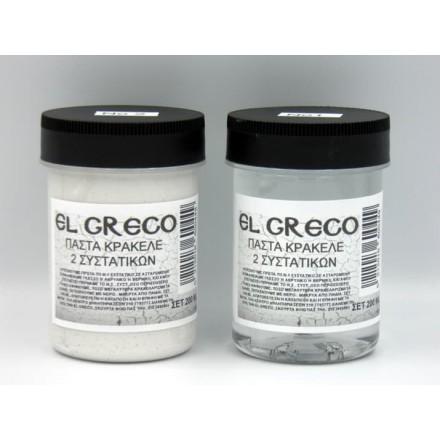 Πάστα Κρακελέ (Crackle Paste) 2 Συστατικών El Greco ΣΕΤ 2x100ml, Λευκή