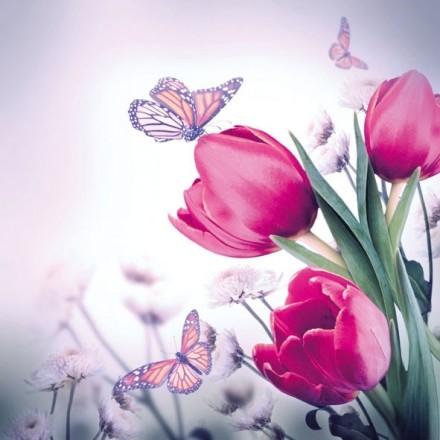 Χαρτοπετσέτα για Decoupage, Butterfly & Tulips / 13309265