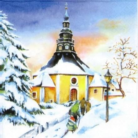 Χριστουγιεννιάτικη Χαρτοπετσέτα για Decoupage, Seiffener Sunset / 611536