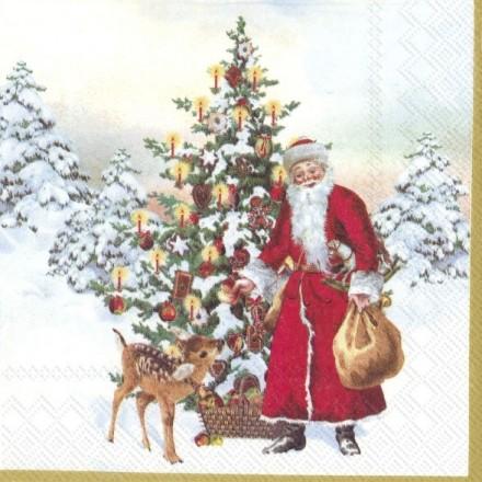 Χριστουγιεννιάτικη Χαρτοπετσέτα για Decoupage, ANNUAL CHRISTMAS SANTA (V&B) / L-886200