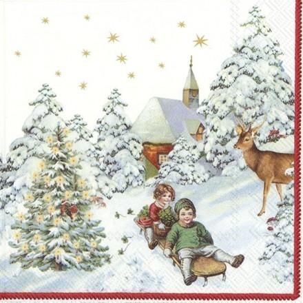 Χριστουγιεννιάτικη Χαρτοπετσέτα για Decoupage, ANNUAL CHRISTMAS SNOW (V&B) / L-886300