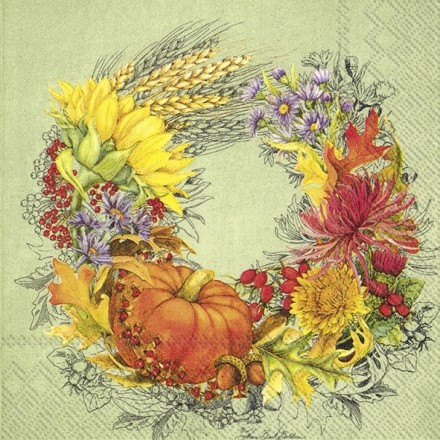 Χαρτοπετσέτα για Decoupage, BEAUTIFUL HARVEST light green / L-792329