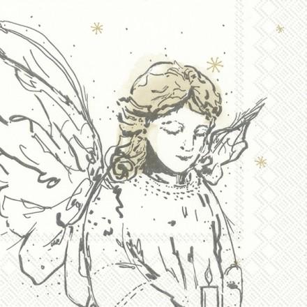 Χριστουγιεννιάτικη Χαρτοπετσέτα για Decoupage, LIKE AN ANGEL white / L-822190