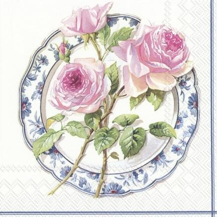 Χαρτοπετσέτα για Decoupage, ROSE FOR LUNCH white / L-847790