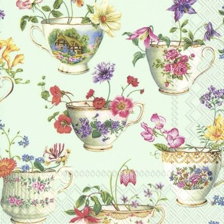 Χαρτοπετσέτα για Decoupage, CUP OF FLOWERS light green / L-868429