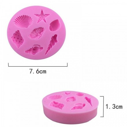 Καλούπι Σιλικόνης 7,7x7,7x1,4cm, Κοχύλια & Αστερίας