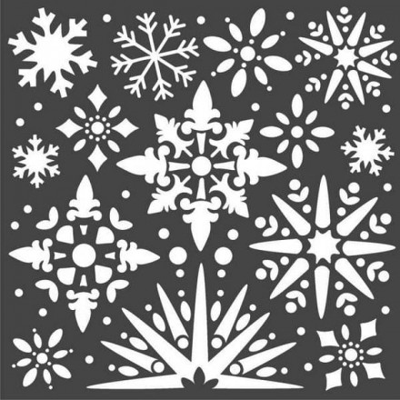 Mix Media Χονδρό Στένσιλ (Stencil) Stamperia 18x18cm, Χιονονιφάδες / KSTDQ49