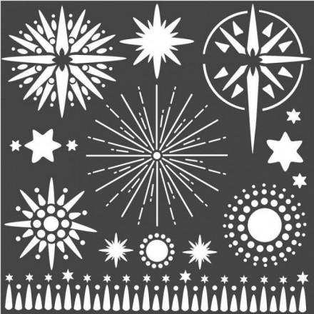 Mix Media Χονδρό Στένσιλ (Stencil) Stamperia 18x18cm, Αστέρια / KSTDQ50