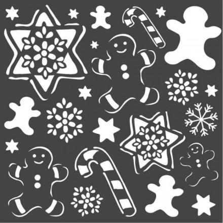 Mix Media Χονδρό Στένσιλ (Stencil) Stamperia 18x18cm, Ζαχαρωτά Μπισκότα / KSTDQ51