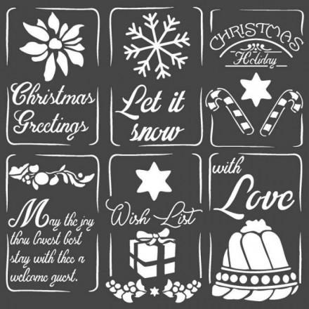 Mix Media Χονδρό Στένσιλ (Stencil) Stamperia 18x18cm, Χριστουγεννιάτικες ετικέτες / KSTDQ53