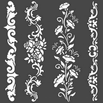Mix Media Χονδρό Στένσιλ (Stencil) Stamperia 18x18cm, Μπορντούρες Λουλουδιών / KSTDQ54