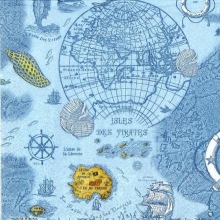 Χαρτοπετσέτα για Decoupage, Carte des Oceans blue / L-604440