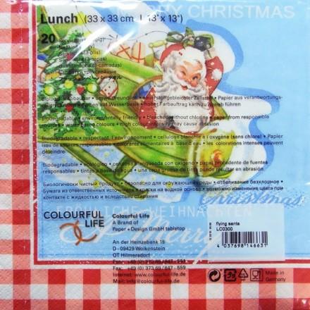 Χριστουγιεννιάτικη Χαρτοπετσέτα για Decoupage, Flying Santa / LC0300