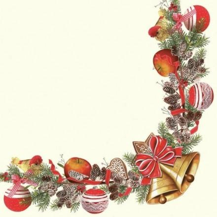 Χριστουγιεννιάτικη Χαρτοπετσέτα για Decoupage, Christmas Frame with Bells / SLGW-010401