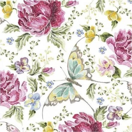 Χαρτοπετσέτα για Decoupage, Flowers and butterflies / SLOG-048401
