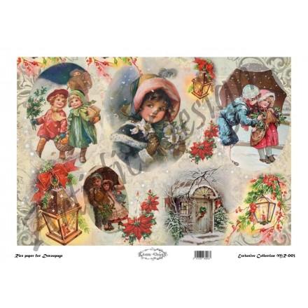 Χριστουγεννιάτικο Ριζόχαρτο Artistic Design για Decoupage 30x40cm, Christmas Vintage Kids & Lanterns / MR003