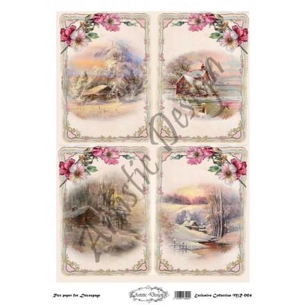 Χριστουγεννιάτικο Ριζόχαρτο Artistic Design για Decoupage 30x40cm, Christmas Landscapes (Τοπία) / MR004