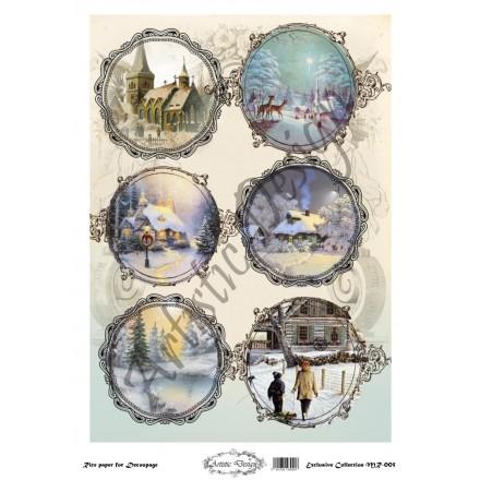 Χριστουγεννιάτικο Ριζόχαρτο Artistic Design για Decoupage 30x40cm, Christmas Landscapes (Τοπία) / MR005