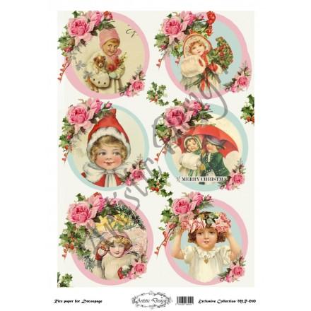 Χριστουγεννιάτικο Ριζόχαρτο Artistic Design για Decoupage 30x40cm, Christmas Vintage Kids / MR010