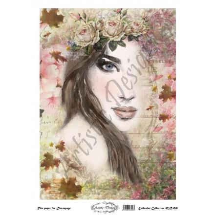 Ριζόχαρτο Artistic Design για Decoupage 30x40cm, Portrait (Πρόσωπο Γυναίκας)  / MR018