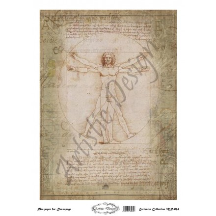 Ριζόχαρτο Artistic Design για Decoupage 30x40cm, Leonardo da Vinci / MR034