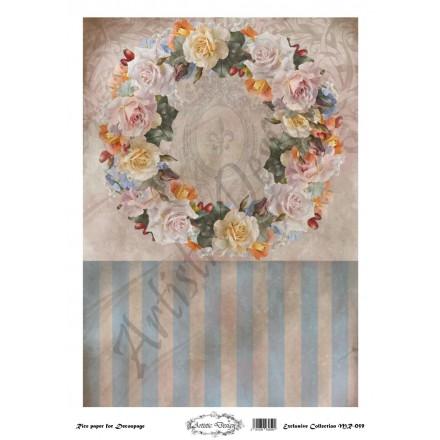 Ριζόχαρτο Artistic Design για Decoupage 30x40cm, Background Flowers Wreath / MR059