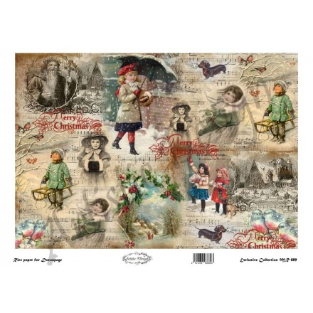 Χριστουγεννιάτικο Ριζόχαρτο Artistic Design για Decoupage 30x40cm, Christmas Vintage Labels / MR889