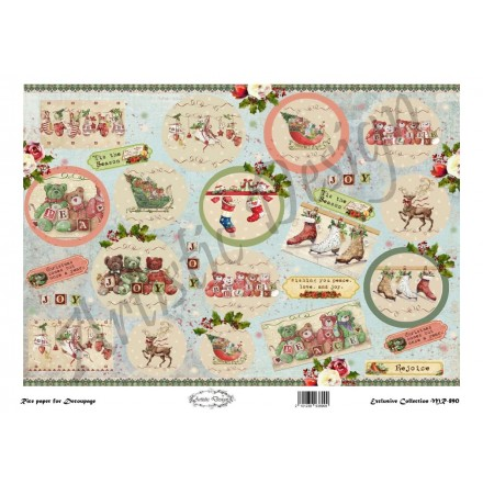Χριστουγεννιάτικο Ριζόχαρτο Artistic Design για Decoupage 30x40cm, Christmas Vintage Labels / MR890