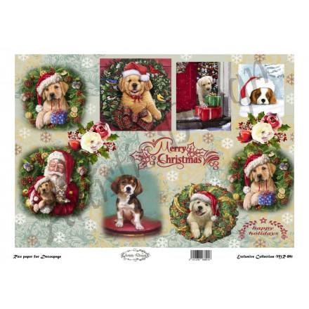 Χριστουγεννιάτικο Ριζόχαρτο Artistic Design για Decoupage 30x40cm, Christmas Dogs / MR891