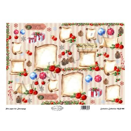 Χριστουγεννιάτικο Ριζόχαρτο Artistic Design για Decoupage 30x40cm, Christmas Πάπυροι / MR898