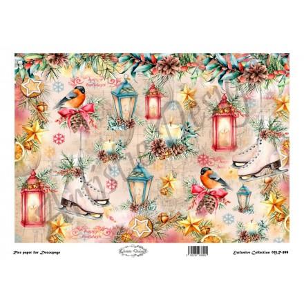 Χριστουγεννιάτικο Ριζόχαρτο Artistic Design για Decoupage 30x40cm, Christmas Lamps / MR899