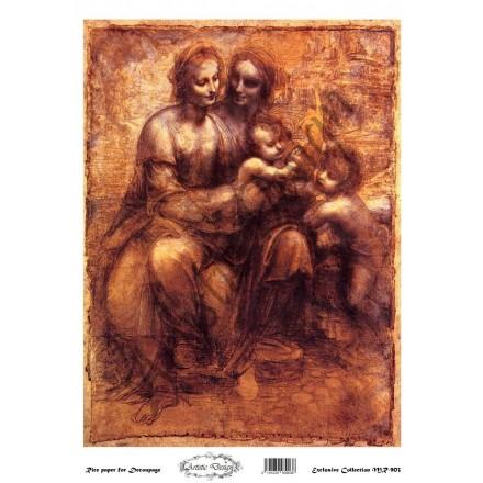 """Ριζόχαρτο Artistic Design για Decoupage 30x40cm, Εικόνα """"madonna with child and saints"""" / MR903"""