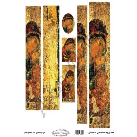 """Ριζόχαρτο Artistic Design για Decoupage 30x40cm, Λαμπάδα Εικόνα """"Παναγία"""" / MR909"""
