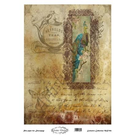 Ριζόχαρτο Artistic Design για Decoupage 30x40cm, background - peacock / MR931