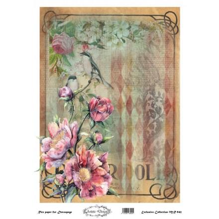 Ριζόχαρτο Artistic Design για Decoupage 30x40cm, vintage background / MR942