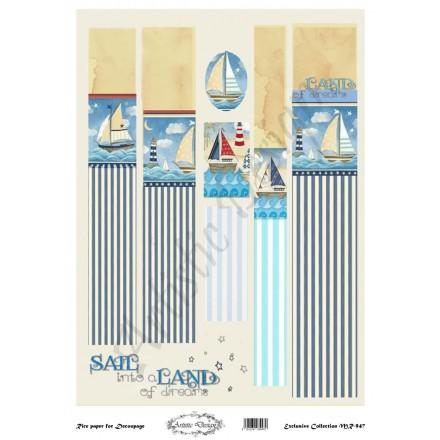 Ριζόχαρτο Artistic Design για Decoupage 30x40cm, Λαμπάδα navy / MR947