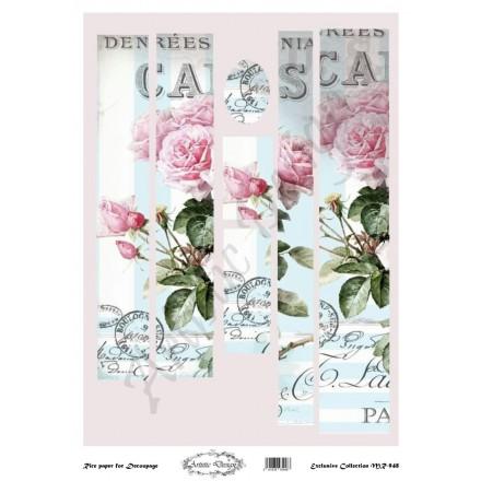 Ριζόχαρτο Artistic Design για Decoupage 30x40cm, Λαμπάδα roses / MR948