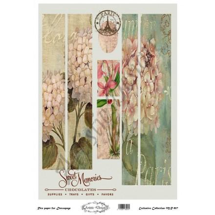 Ριζόχαρτο Artistic Design για Decoupage 30x40cm, Λαμπάδα vintage flowers / MR957