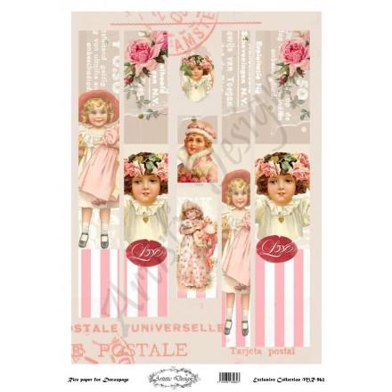 Ριζόχαρτο Artistic Design για Decoupage 30x40cm, Λαμπάδα little girls / MR962