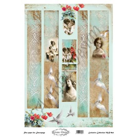Ριζόχαρτο Artistic Design για Decoupage 30x40cm, Λαμπάδα vintage little girls / MR964